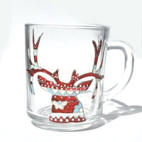 Christmas gift - Hand Painted Mug - ugly deer - Unique Artistic Gift - Dinner - Parties- cup