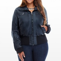 Plus Size Incoming Faux-Leather Bomber Jacket | Fashion To Figure