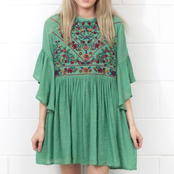 Full of Joy Floral Embroidery Dress {Sage}