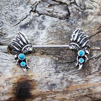 316L Stainless Steel Turquoise Feather Headdress Nipple Bar