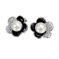 MLOVES Women's Classical Diamanted Flower Inlaid Pearl Ear Cuffs