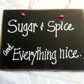 Little girl sign, girls nursery decor, sugar & spice, everything nice, wall art