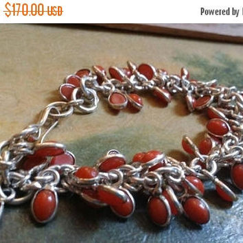 80%OFF SUMMER SALE Red Coral  Bracelet Gemstone  .925 Sterling  Silver