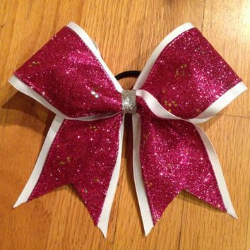Hot Pink Sparkle Cheer Bow by CheerLoveBows on Etsy