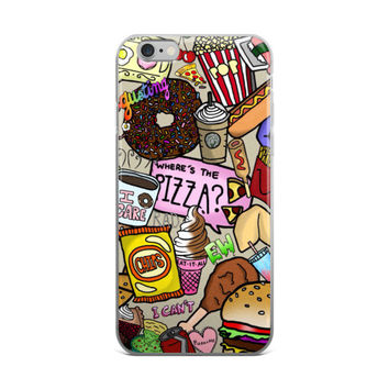 Donuts Popcorn Starbucks Pizza Chicken Burger Junk Food Collage Food Lover iPhone 4 4s 5 5s 5C 6 6s 6 Plus 6s Plus 7 & 7 Plus Case
