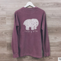Elephant T Shirt Long Sleee Top Red