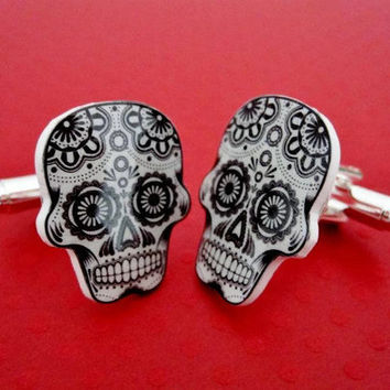 Cufflinks Sugar Skull Cuff Links Day Of The Dead Dia De Los Muertos Silver Plated