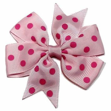 "Light pink w/ pink polka dot print 3"" pinwheel grosgrain bow"
