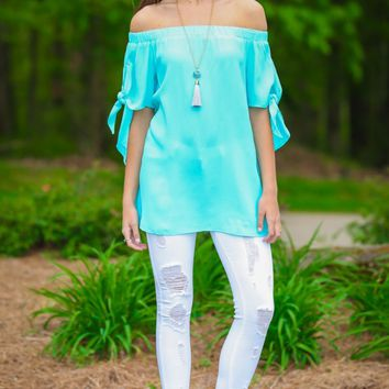 One True Love Sky Blue Off-The-Shoulder Top