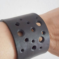 Handmade Black Leather Bracelet Leather Cuff Fashion Leather Cuff Rock - Punk Leather Wrist Accessorie