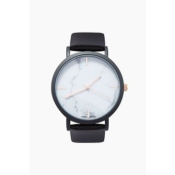 Blake Marble 38mm Quartz Leather Watch - Rose Gold/Black/White