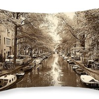 """Cruising on the Canal I Throw Pillow for Sale by Ivy Ho - 20"""" x 14"""""""