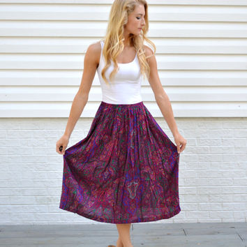 Vintage Pink Colorful Paisley Patterned Skirt Gorgeous Colorful Fall Long Skirt Womens Maxi Purple Paisley Design Medium Length Pleated