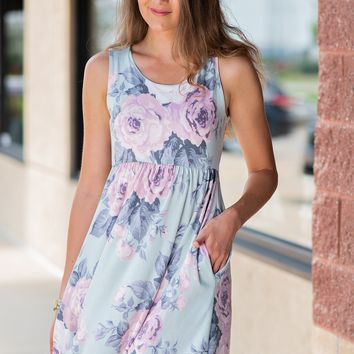 Mesmerized By You Floral Sleeveless Dress : Sage