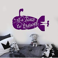 Wall Vinyl Decal Submarine Sea Marine Ocean Time To Travel Decal Unique Gift z3962