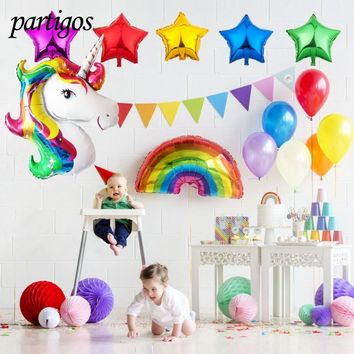 13pcs/lot 116CM Unicorn 90*60cm large size rainbow 18inch Star 2.3g Latex balloons for Birthday Party Baby Shower Decor supplies