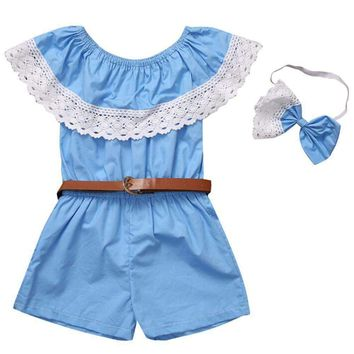 SHIPS FROM USA Off Shoulder Lace Jumpsuit With Coordinating Bow Headband And Bel