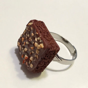 Chocolate Brownie with Nuts Adjustable Ring, Polymer Clay Food Jewelry