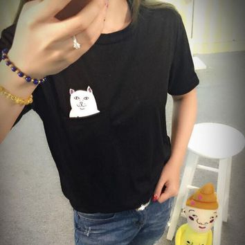 Summer Casual Brand Middle Finger Pocket Cat Printed Funny Womens T Shirt O-neck Short Sleeve Emoji Harajuku Tee Shirt Tops