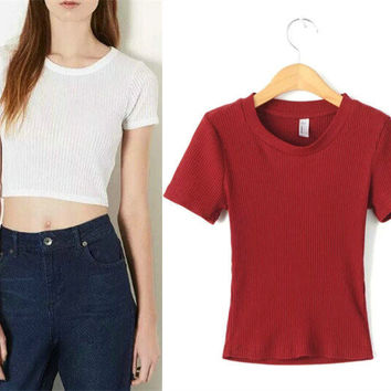 Knit Short Sleeve Sexy Crop Top Tops Slim T-shirts [4918705860]