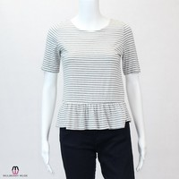 Striped Knit Peplum Blouse
