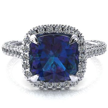 Taniya Cushion Alexandrite 4 Claw Prong Halo 3/4 Eternity 3 Sided Diamond Shank Cathedral Engagement Ring