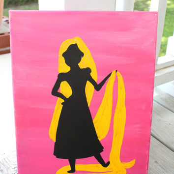Princess Rapunzel silhouette // pink background // gold sparkle hair // 11x14 inch canvas // READY TO SHIP
