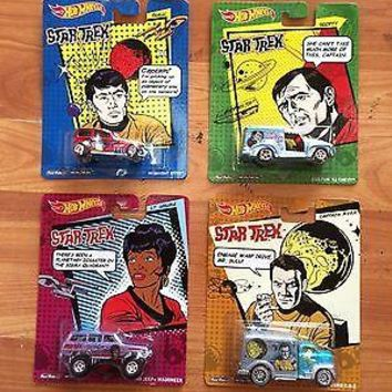 Set Of 4 Hot Wheels Pop Culture Star Trek Kirk, Sulu, Scotty, Uhura