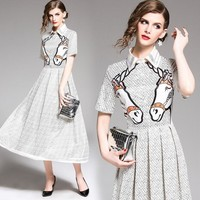 BURBERRY Trending Popular Women Casual Print Long Sleeve Lapel Dress White