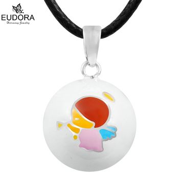 USPS Free Shipping Eudora Angel White Mexican Bola Pendant Harmony Bola Balls Necklace 30''Pregnancy Jewelry in USA Warehouse