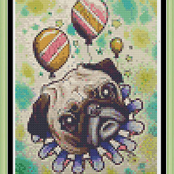 it's a pug life - Cute little pug pdf cross stitch pattern - party - puppy - pug life -dog -INSTANT DOWNLOAD