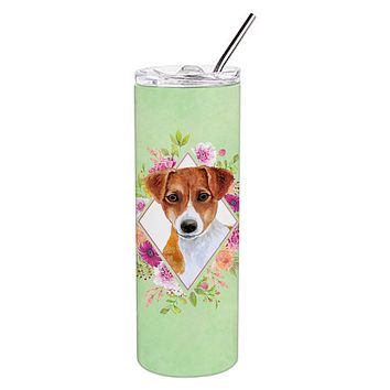 Jack Russell Terrier #2 Green Flowers Double Walled Stainless Steel 20 oz Skinny Tumbler CK4316TBL20