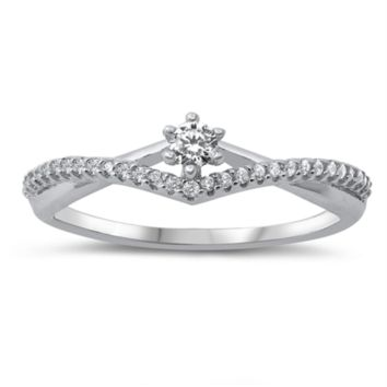 Infinity Solitaire Ring Ladies Size 5-10 in .925 Sterling Silver and CZ