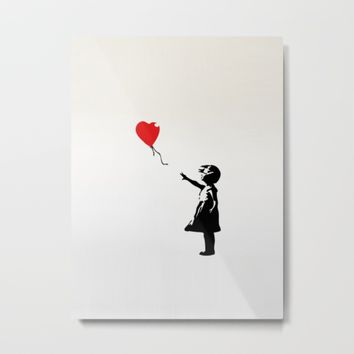 Banksy Girl with Ballooon reproduction Metal Print by canvas your life