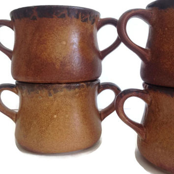 McCoy Pottery Soup Bowls Double Handled Cups Brown Stoneware Crocks Earthtones Set of Four Vintage Kitchen
