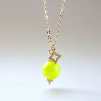 Diamond charm necklace, Neon yellow Swarovski pearl necklace, Statement necklace, Wedding jewelry, Bridesmaid necklace, Prom necklace