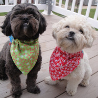 Christmas Dog Bandana, Cat Bandana - Snowflake, Candy Cane, red or green.