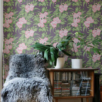 Hibiscus Wallpaper - Removable Wallpaper - Tropical Wallpaper - Hibiscus Wall Sticker - Tropical Wall Decal - Hibiscus Adhesive Wallpaper
