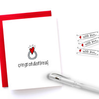 Funny Engagement Congratulations Card - Illustrated in the USA by Yellow Daisy Paper Co.