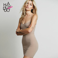 2016 Trending Fashion Slim Slim Fit Package Hip Solid One Piece Dress _ 3446