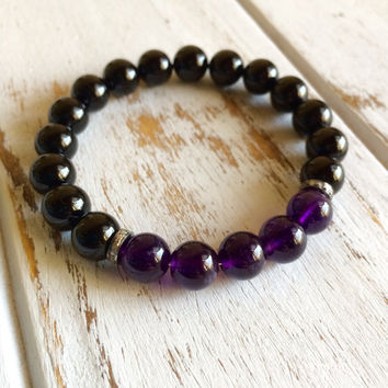 Genuine Black Tourmaline Bracelet w/ Indian Diamond Spacers ~ Choose your own 5 Stones