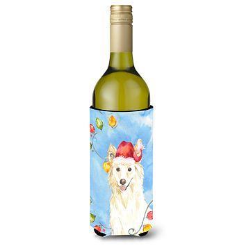 Christmas Lights White Collie Wine Bottle Beverage Insulator Hugger CK2500LITERK