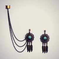 dream catcher ear cuff earrings