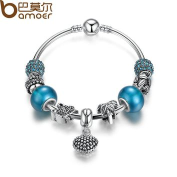 Silver Mother Son Charm Bracelets Heart Pendant Bangle with Blue Crystal Beads Mother's Day Gift PA3075