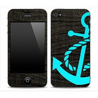 Dark Denim With Turquoise Anchor V3 Skin for the iPhone 3gs, 4/4s or 5