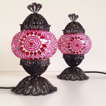 Set of Pink Turkish Mosaic Lamp with delicate hand crafted copper base, bedside lamps, Night lamps, lampshades, Turkish lamps, Stand lights