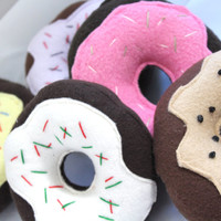 Chocolate & Vanilla Squeaky Dog Toy Donuts