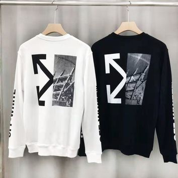 Off-white hot seller of fashionable back patchwork printed casual couple sweater with round collar