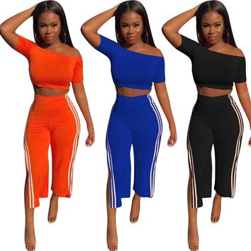 Women Two Piece Off The Shoulder Crop Top Side Split Striped Pant Set
