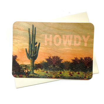 Howdy Cactus - Wood Card